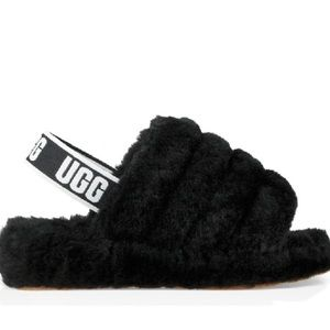 Authentic fluffy faux leather UGG slippers